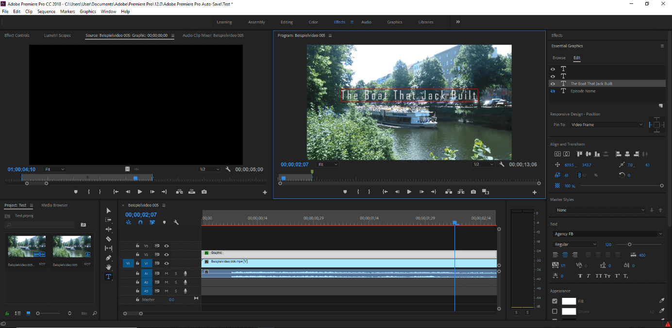 Adobe Premiere Pro CC: general graphics for titles, text inserts and credits.