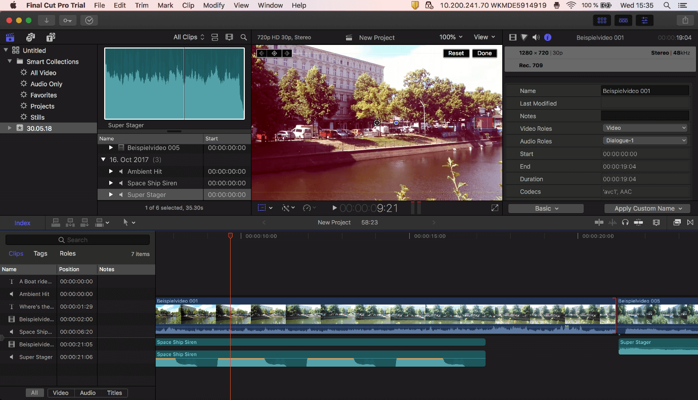 Final-Cut-Pro-X user interface with timeline, tools, index and preview window.