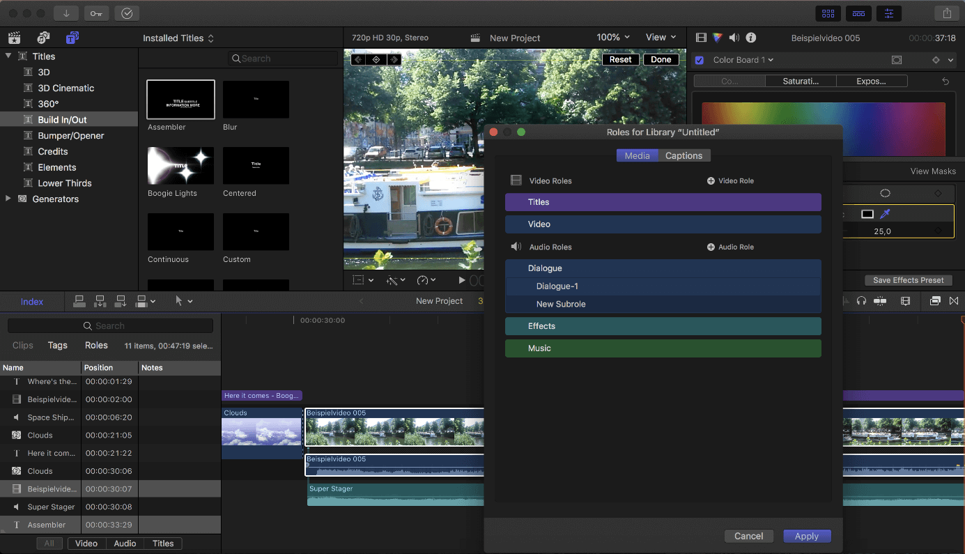 Final Cut Pro X user interface with track type selection.