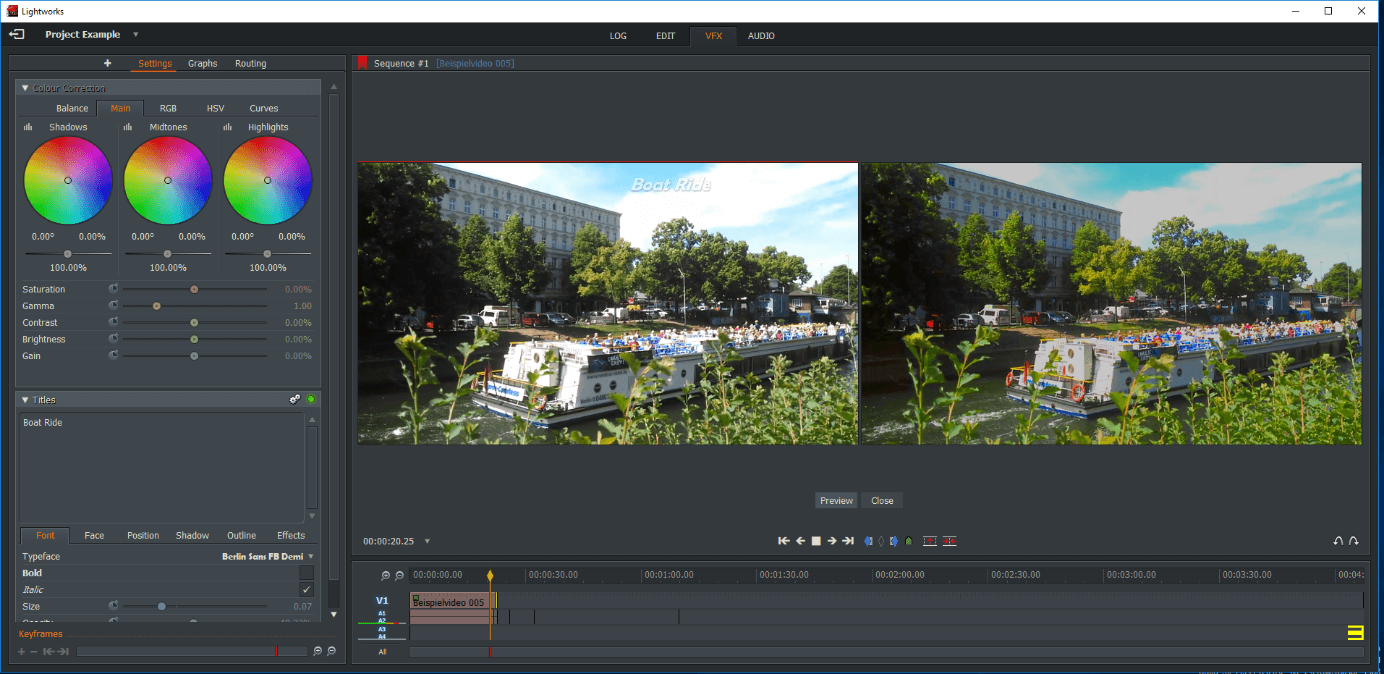 Two preview windows with video clips - right cursor for color correction.