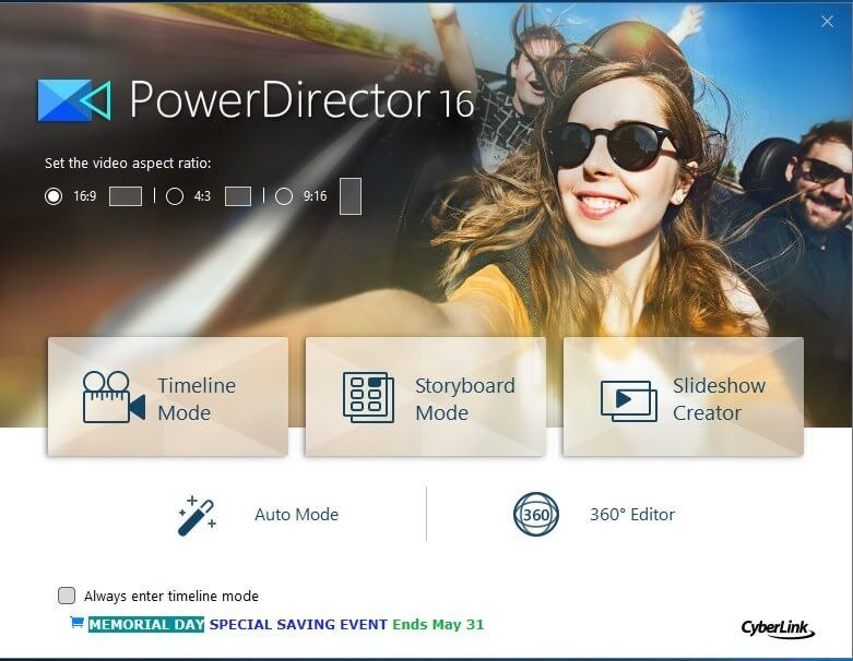 Cyberlink PowerDirector start interface with mode selection