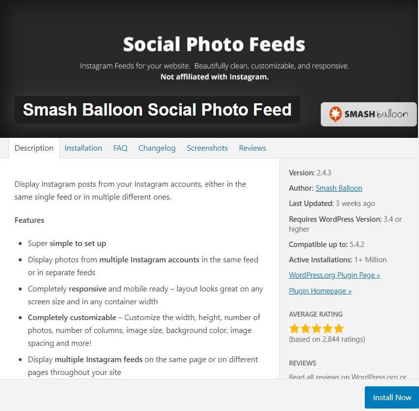 Instagram Smash Balloon Social Photo Feed plugin