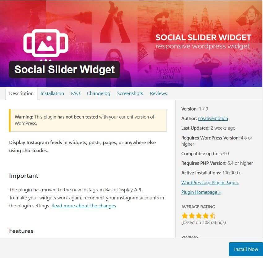 WordPress Instagram Widget: Social Slider Widget